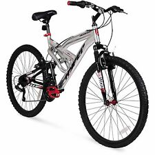 "Men's Mountain Bike 26""  Aluminum Frame Bicycle Shimano Full Suspension Silver"