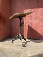 Antique Washburn Drafting Table Cast Iron Industrial Office Desk Wood Cranking