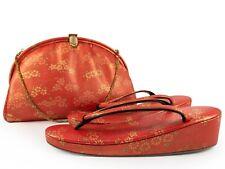 Vintage TENGU Shinsaibashi Unused All-Leather Bag & Zori (23.5cm) Set: Aug19J