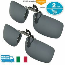 Clip-on Occhiali da Sole Polarizzati Clipon Uomo 2 Pz per Sport Ciclismo Guida