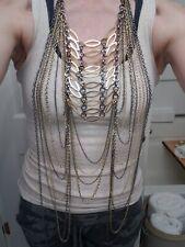 Chain Jewelry Chest Harness Necklace Bra New Gold & Gunmetal Womens Body