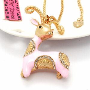 Lovely Pink Enamel Goat Sheep Crystal Pendant Betsey Johnson Chain Girl Necklace