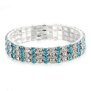 Womens Jewelry 3-Row Tennis Bracelet Bangle Elastic Blue & White Crystal