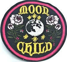 Moon Child Embroidered Patch Gold Hippy Psychedelic 60s Peace Flower Iron On
