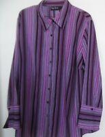 Maggie Barnes Purple Black White  Top Blouse Shirt  Women Size 1X