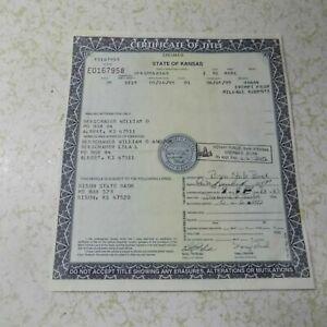 1970 MERCURY COUGAR KANSAS Car Title Collectible Historical Document