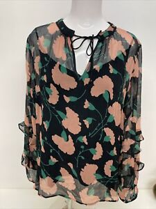 New Lily and Lionel Poppy Print Blouse, Black Pink, XL , RRP £165 - A89