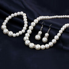 Imitation Pearl Rhinestone Diamante Spacers Necklace Bracelet & Earring Set