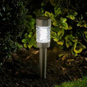 4 Pack 41.5cm Stainless Steel Solar Power Outdoor LED Stake Lights | Garden Path