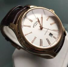 Men's Genuine Rotary Limited Edition Watch Rose Gold Brown Leather Roman Silver