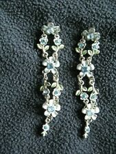 With Blue Diamanté Long Floral Earrings