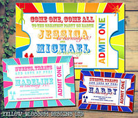 10 Personalised Joint Kids Party Invites Birthday Invitations Circus Ticket