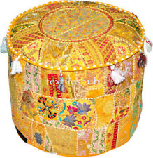 Indian Handmade Yellow Pouf Cover Cotton Ottoman Sari Patchwork Floor Sofa Throw