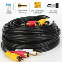 3RCA Male Stereo Audio Video RCA Cable RG59 Gold Plated VCR DVD HDTV PC PS3 XBOX
