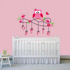 Personalized Wall Sticker Watchful Owl with Custom Name Design for Nursery Decor