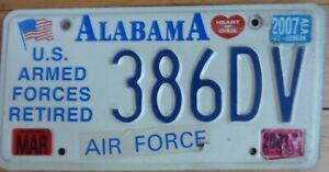 """USA ALABAMA  embossed US Armed Forces """"Air Force"""" car number plate 386DV"""