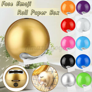 Bathroom Ball Shaped Face Wall Mounted Tissue Box Plastic Holder Toilet   F