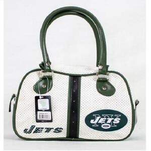 New York Jets NFL Licensed Perforated Bowler Style Purse Handbag