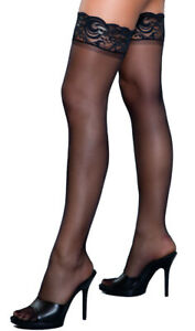 Stay Up Lace Top Thigh Highs Sheer Silicone Strips Stretch Nylons Hosiery 1919