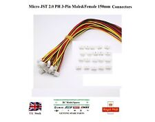 5x Pairs Micro JST 2.0 PH 3-Pin Male&Female Connector Plugs 150mm (15cm) Wires