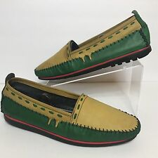 Vtg Giorgio Brutini Pan-African Multicolored Soft Stitched Leather Men Loafer 11