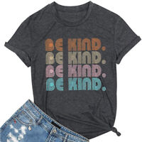 Women Be Kind Letter Print T Shirts Short Sleeve Casual Graphic Summer Tops Tees