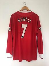 Liverpool KEWELL #7 2002/04 *MATCH ISSUE* + SIGNED Home L/S Football Shirt (L)