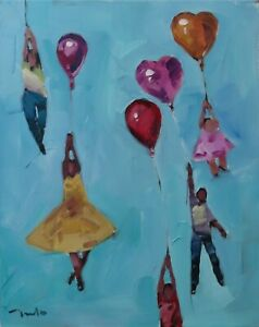 JOSE TRUJILLO - ORIGINAL Oil Painting IMPRESSIONISM Balloons Figures People