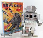 MECHANICAL MISSILE ROBOT 1970s Sparking Toplay WindUp Clockwork Silver SciFi 70s