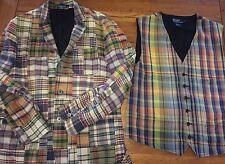 Vintage Madras Patchwork Plaid Ralph Lauren Polo Blazer 44 XL Jacket & Vest ^^^