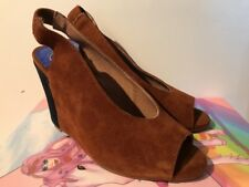JEFFREY CAMPBELL VELMA BROWN SUEDE LEATHER WEDGE HEEL SLINGBACK SHOES 6.5 NEW