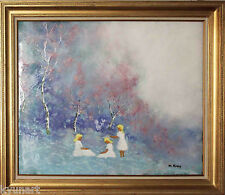 Listed American Artist MAX KARP, Very Large Original Signed Enamel Painting
