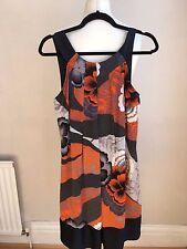 Ted Baker Silk Dress size 2/Small/10 Orange Flower