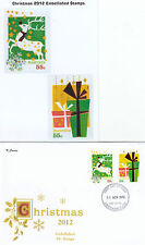 """2012 Christmas set of 6 booklet stamps on set 4 limited edition """"K"""" Covers FDC's"""