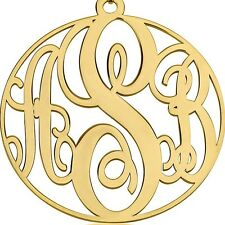 Circle Monogram Necklace 2″  XXLarge 24k Gold Plated Jewelry - oNecklace ®