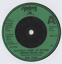 "Paul Evans - Hello This Is Joannie 7"" Single 1978"