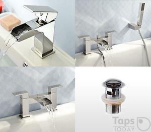 Cascade Square Waterfall Taps, Mono Basin Mixer, Bath Filler, Bath Shower Mixer