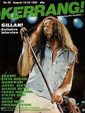 Ian Gillan on Kerrang No: 22 Cover 1982   Manowar  Status Quo  Saxon  Dee Snider