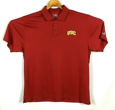 Mens Under Armour Usc Trojans Red Polo Heat Gear Loose Shirt Size 2Xl