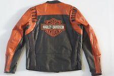 Harley Davidson Mens Black Orange Classic Perforated Leather Jacket L 98123-08VM