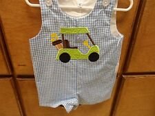 Boy'[s  Blue and White Gingham Jon Jon Romper Golf Cart Size 6mo -3T Personalize