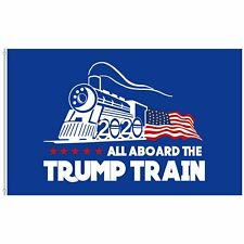 3x5 Ft Donald Trump 2020 All Aboard The Trump Train President Flag MAGA Banner