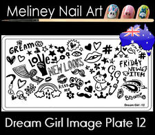 Dream Girl 12 Stamping Nail Art Image Plate Design Rectangle XL Stencil metal