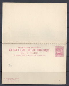 BRITISH GUIANA QV POSTAL STATIONERY UPU REPLY CARD 3 CENTS   UNUSED