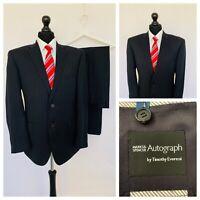 Marks & Spencer Autograph Mens Suit 42S 38W 31L Black Pinstripe 100% Wool  GR873