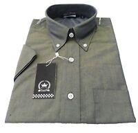 Relco Men's Short Sleeved Green/Gold Tonic Mod Retro Shirt`s