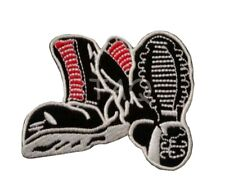 skinhead Punk Laced Up Boots Doc Martin Iron On Embroidered Patch rock meta