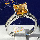 Real 925 Sterling Silver Princess Cut Created Yellow Diamond Engagement Ring