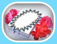 """❤️18"""" Taxco TS-108 Mexican Turquoise Sterling Silver 950 Necklace 108 gram Vtg❤️"""