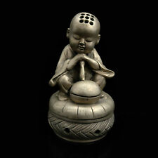 Collectibles Brass Incense burner Monk Shape Copper-nickel Statue AP254